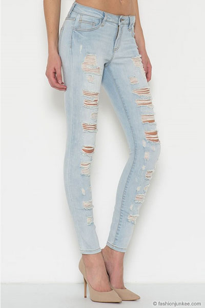 better price for beautiful style newest style PLUS SIZE Stretch Ripped Distressed Destroyed Skinny Jeans-Light Blue Wash