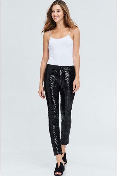 8729db5304467 PLUS SIZE Metallic Sequin Leggings Pants-Black