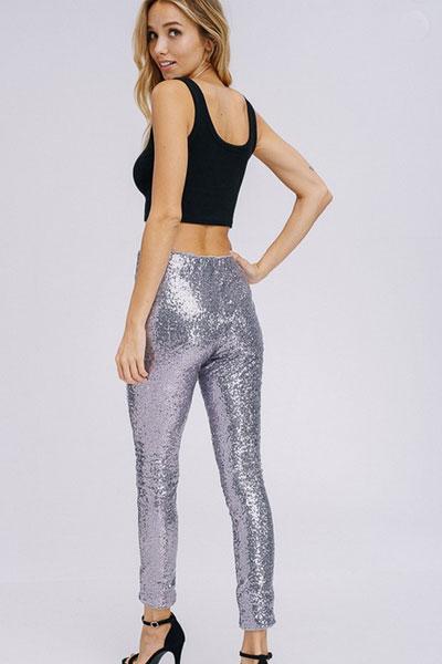 5717529454faf PLUS SIZE Metallic Sequin Leggings Pants-Rose Gold