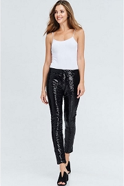 HOLIDAY FLASH DEAL! ENDS SOON - PLUS SIZE Metallic Sequin Leggings Pants-Black