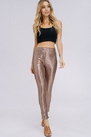 HOLIDAY FLASH DEAL! ENDS SOON - PLUS SIZE Metallic Sequin Leggings Pants-Gold