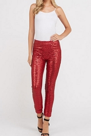Metallic Sequin Leggings Pants-Red
