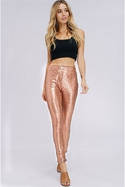 PLUS SIZE Metallic Sequin Leggings Pants-Rose Gold