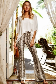 Flared Wide Leg High Waisted Pants-Snake Skin Print