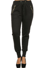 Solid Cotton Jogger Pants-Black