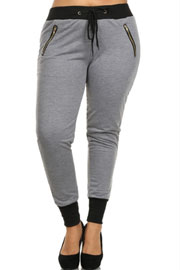 PLUS SIZE Solid Cotton Jogger Pants-Grey
