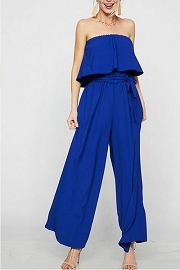 Ruffle Strapless Tube Jumpsuit-Blue
