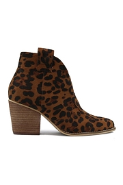 Faux Suede Western Ankle Cowboy Booties-Leopard Print