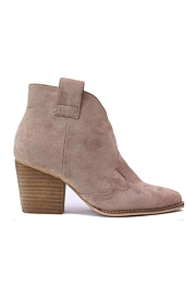 Faux Suede Western Ankle Cowboy Booties-Taupe
