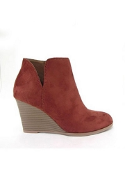 Closed Toe Notched V Cutout Wedge Booties-Rust