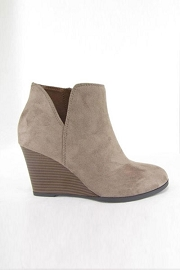 Closed Toe V Cutout Notched Wedge Booties-Taupe