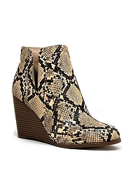 Closed Toe Notched V Cutout Wedge Booties-Natural Python Snake Print