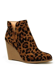 Closed Toe Notched V Cutout Wedge Booties-Leopard Print