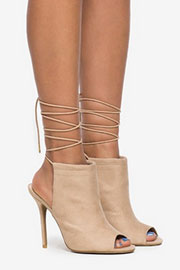 High Heel Open Peep Toe Faux Suede Lace Up Ankle Booties-Nude Beige