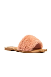Faux Fur Single Band Sandals Slides with Rhinestone Trim-Blush Pink