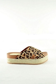 X Strap Low Flat Espadrille Wedge Sandals-Leopard Print