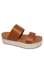 Two Strap Low Flat Espadrille Wedge Sandals-Tan Brown