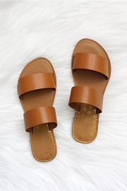 Two Strap Band Sandals-Brown