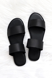 Two Strap Band Sandals-Black