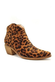 Faux Suede Cowboy Boots Western Ankle Booties-Leopard Print