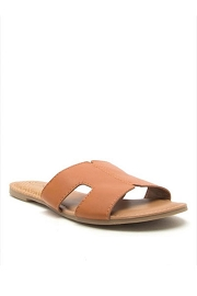 Every Day H Band Cutout Sandals Slides-Cognac Brown