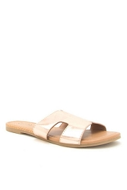 Every Day H Band Cutout Sandals Slides-Rose Gold