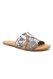 Every Day H Band Cutout Sandals Slides-Snake Print