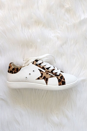Lace Up Low Top Star Sneakers-White & Leopard Print