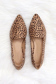 Closed Toe Pointy Toe Loafer Flats Shoes-Cheetah Print