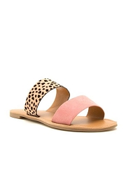 Animal Print Mixed Two Strap Band Sandals-Pink & Leopard Print