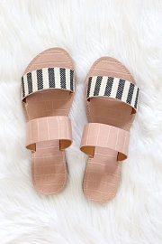 Striped Mixed Two Strap Band Sandals-Black White and Pink