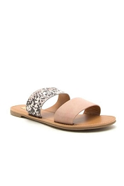 Animal Print Mixed Two Strap Band Sandals-Blush Pink & Python Snake Print