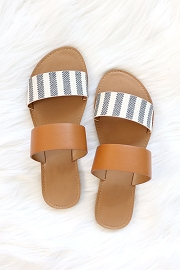 Animal Print Mixed Two Strap Band Sandals-Brown and Grey Striped