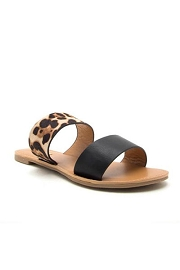 Animal Print Mixed Two Strap Band Sandals-Leopard Print