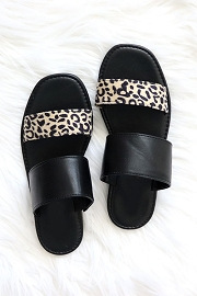 Animal Print Mixed Two Strap Band Sandals-Black & Cheetah Leopard Print
