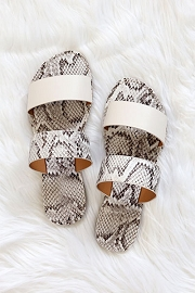Animal Print Mixed Two Strap Band Sandals-White & Snake Skin Print