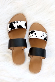 Animal Print Mixed Two Strap Band Sandals-Black and White Cow Print