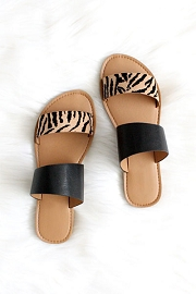 Animal Print Mixed Two Strap Band Sandals-Black & Tiger