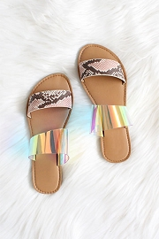 Clear Animal Print Mixed Two Strap Band Sandals-Snake Print & Iridescent Clear