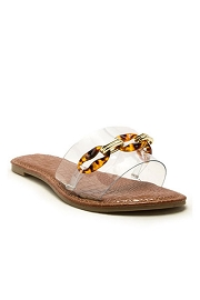 Chain Single Band Sandals Slides-Clear