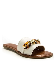 Chain Single Band Sandals Slides-White