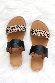 Twisted Animal Print Mixed Two Strap Band Sandals-Black and Leopard Print