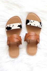 Twisted Animal Print Mixed Two Strap Band Sandals-Brown and Cow Print