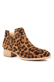 Faux Suede Ankle V-Slit Side Cutout Closed Toe Booties-Leopard Print