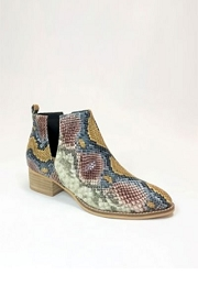 Faux Suede Ankle V-Slit Side Cutout Closed Toe Booties-Multi-Colored Snake Print