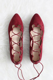 Faux Suede Pointy Toe Lace Up Strappy Ballet Ballerina Flats-Burgundy Dark Red