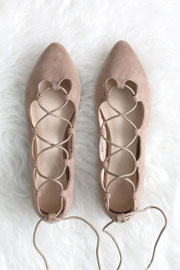 Faux Suede Pointy Toe Lace Up Strappy Ballet Ballerina Flats-Nude