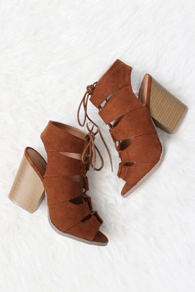 Faux Suede Lace Up Peep Toe Sandals Booties with Chunky Heel-Brown