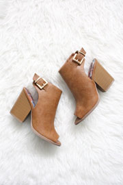 FLASH DEAL: Faux Leather Open Peep Toe Ankle Booties with Stacked Chunky Heel-Camel Brown