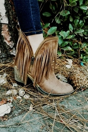 Western Boho Faux Suede Closed Toe Fringe and  Zipper Detail Booties-Taupe